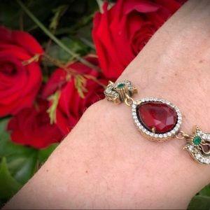 Jewelry - RUBY EMERALD Gems BRACELET Solid 925 Silver/Gold